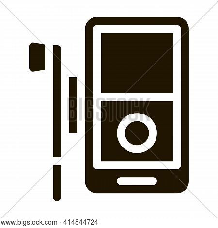 Listening To Music Through Player Glyph Icon Vector. Listening To Music Through Player Sign. Isolate