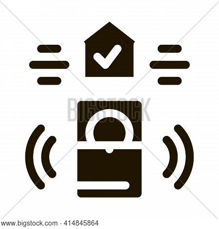 Home Security Alarm Glyph Icon Vector. Home Security Alarm Sign. Isolated Symbol Illustration