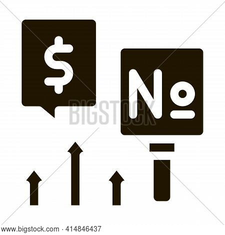Increase In Cash Rates Glyph Icon Vector. Increase In Cash Rates Sign. Isolated Symbol Illustration