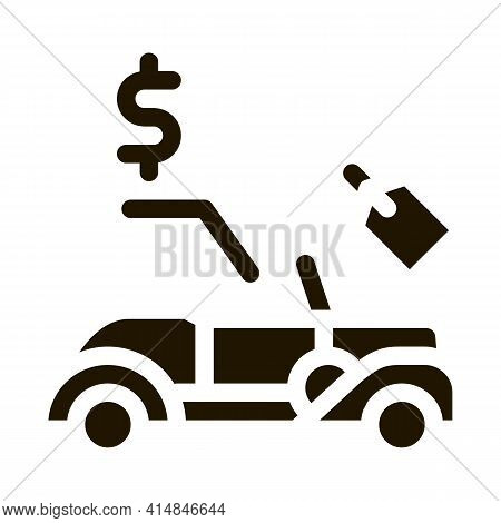 Car For Auction Glyph Icon Vector. Car For Auction Sign. Isolated Symbol Illustration