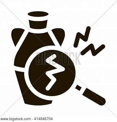 Auction Vase Crack Detection Glyph Icon Vector. Auction Vase Crack Detection Sign. Isolated Symbol I
