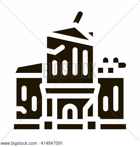 House Crash Glyph Icon Vector. House Crash Sign. Isolated Symbol Illustration