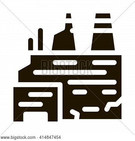 Destroyed Nuclear Power Plant Glyph Icon Vector. Destroyed Nuclear Power Plant Sign. Isolated Symbol