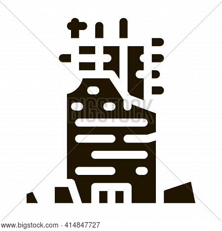 Collapse Of House To Initial Foundation Glyph Icon Vector. Collapse Of House To Initial Foundation S