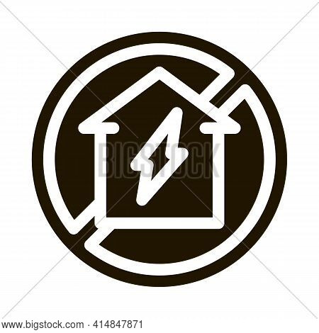 House Sign In Ruin Glyph Icon Vector. House Sign In Ruin Sign. Isolated Symbol Illustration