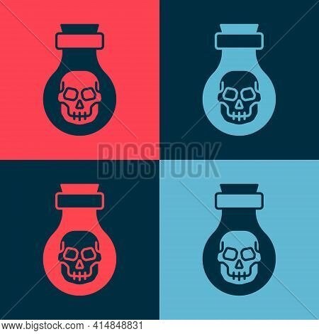 Pop Art Poison In Bottle Icon Isolated On Color Background. Bottle Of Poison Or Poisonous Chemical T