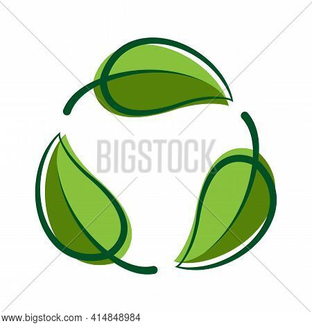 Recycle Green Leaf Graphic Symbol, Bio Sign, Recycle Leaf Shape For Eco Icon, Ecological Cycle Symbo