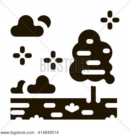Territory Of Well-groomed Forest Glyph Icon Vector. Territory Of Well-groomed Forest Sign. Isolated