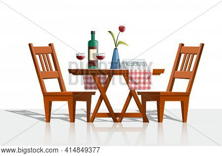 Vector Cartoon Style Romantic Table Set With Chairs And Wooden Table, Red Wine Bottle, Glasses And V
