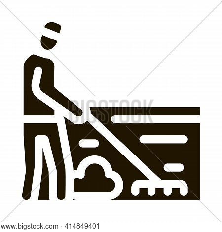 Cleaning Man With Rake Glyph Icon Vector. Cleaning Man With Rake Sign. Isolated Symbol Illustration