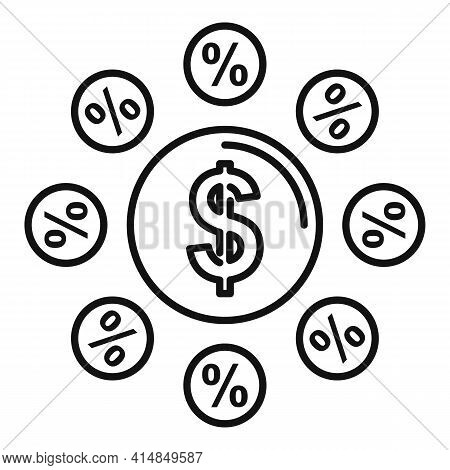 Credit Scheme Star Icon. Outline Credit Scheme Star Vector Icon For Web Design Isolated On White Bac