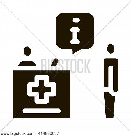 Person Near Check-in Point Glyph Icon Vector. Person Near Check-in Point Sign. Isolated Symbol Illus