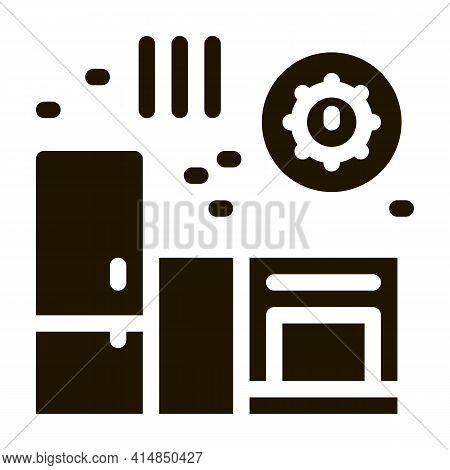 Harmful Bacteria In Kitchen Glyph Icon Vector. Harmful Bacteria In Kitchen Sign. Isolated Symbol Ill
