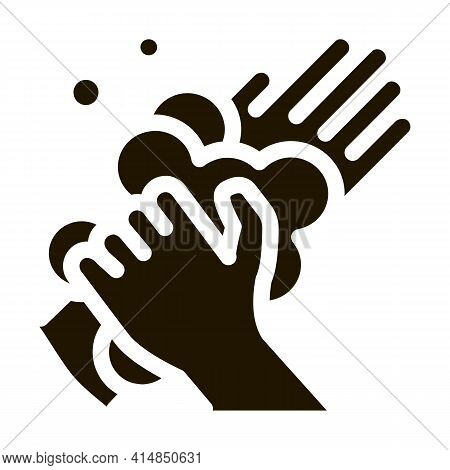 Soap Foam For Washing Hands Glyph Icon Vector. Soap Foam For Washing Hands Sign. Isolated Symbol Ill
