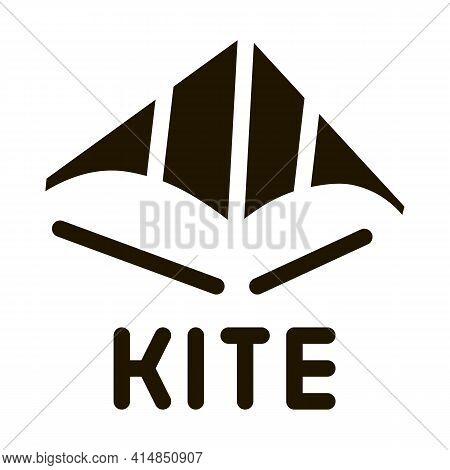 Children Kite Glyph Icon Vector. Children Kite Sign. Isolated Symbol Illustration