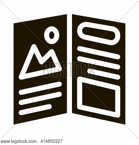 Printed Booklet Glyph Icon Vector. Printed Booklet Sign. Isolated Symbol Illustration