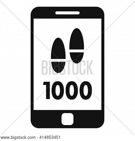 Smartphone Steps Counter Icon. Simple Illustration Of Smartphone Steps Counter Vector Icon For Web D
