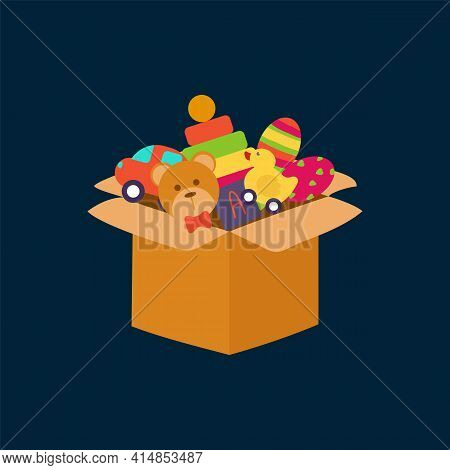 Kids Toy Box. A Set Of Toys In A Box. Children's Greeting Card With Objects For Games. Isolated Vect