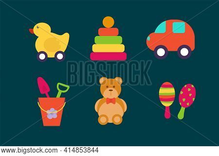 Kids Toy Set. Isolated Vector Children's O Objects For Games. Beautiful Icons In The Color Of Childr