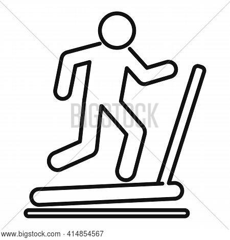 Run Treadmill Icon. Outline Run Treadmill Vector Icon For Web Design Isolated On White Background