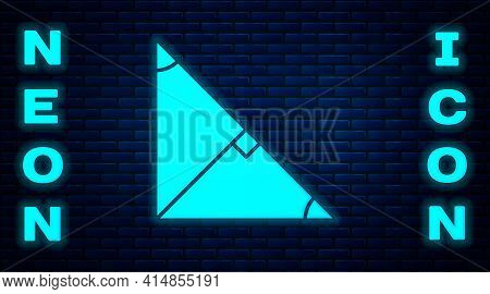 Glowing Neon Angle Bisector Of A Triangle Icon Isolated On Brick Wall Background. Vector