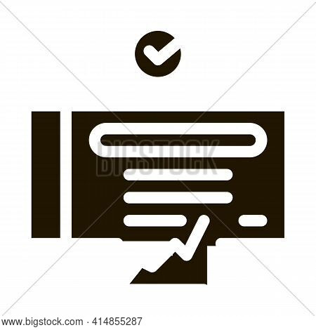 Confirmed Document Chart Glyph Icon Vector. Confirmed Document Chart Sign. Isolated Symbol Illustrat