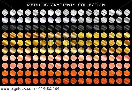Gold, Bronze, Silver, Copper, Gold Rose And Black Texture Gradation Background Set. Vector Metallic