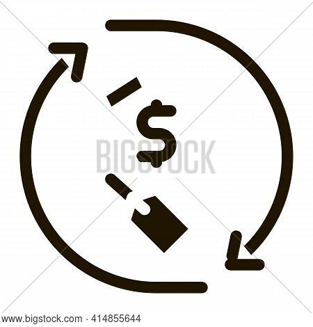 Repeat Home Financing Percentage Glyph Icon Vector. Repeat Home Financing Percentage Sign. Isolated