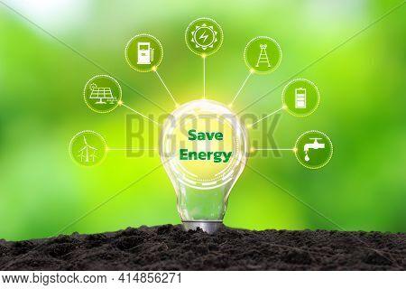 Energy Saving Light Bulbs, Including Energy Icons, Energy Saving Ideas And Eco-friendly Energy Usage