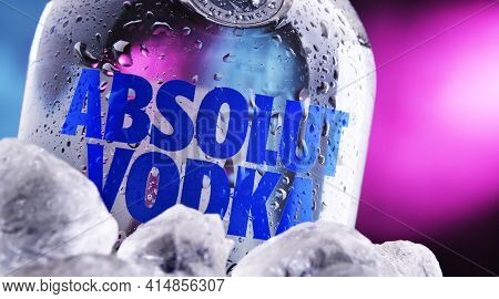 Poznan, Pol - Jan 27, 2021: Bottle Of Absolut Vodka, A Brand Of Vodka Produced In Sweden. Owned By F