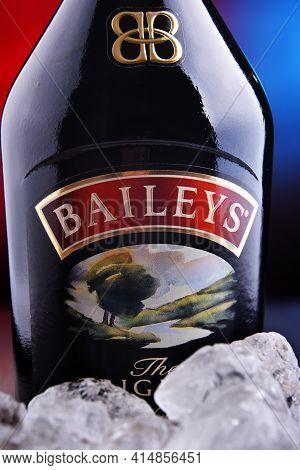 Poznan, Pol - Jan 27, 2021: Bottle Of Baileys Irish Cream, An Irish Whiskey- And Cream-based Liqueur