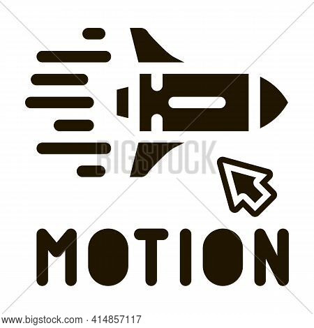 Work With Rocket Objects In Action Glyph Icon Vector. Work With Rocket Objects In Action Sign. Isola