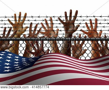 American Immigration And United States Refugee Crisis Concept As Immigrant People On A Border Wall W