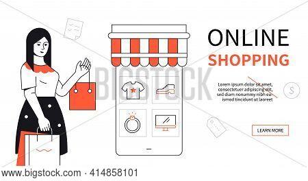 Online Shopping - Modern Flat Design Style Poster