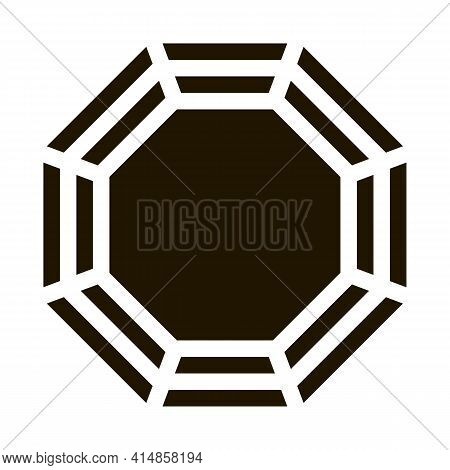 Rug With Yin Yang Pattern Top View Glyph Icon Vector. Rug With Yin Yang Pattern Top View Sign. Isola