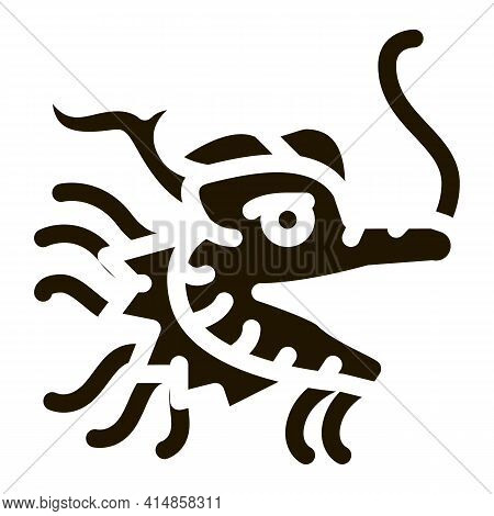 Mask Of Chinese Dragon Glyph Icon Vector. Mask Of Chinese Dragon Sign. Isolated Symbol Illustration
