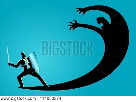 Business Concept Vector Illustration Of A Businessman As A Knight Fighting His Own Shadow