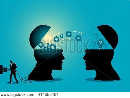 Knowledge Or Ideas Sharing Between Two People Head, Transferring Knowledge, Innovation, Brain Stormi