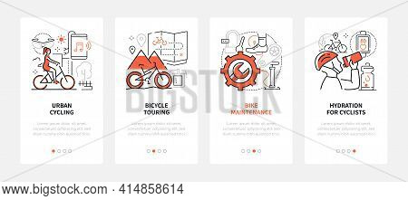Cycling - Modern Line Design Style Web Banners