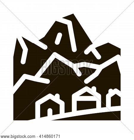 Ski Resort Village Glyph Icon Vector. Ski Resort Village Sign. Isolated Symbol Illustration
