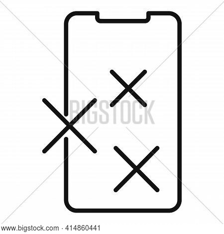 Shiny Phone Glass Icon. Outline Shiny Phone Glass Vector Icon For Web Design Isolated On White Backg