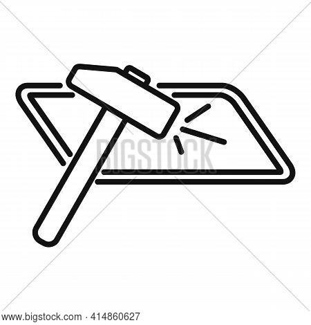 Hammer Crash Glass Icon. Outline Hammer Crash Glass Vector Icon For Web Design Isolated On White Bac
