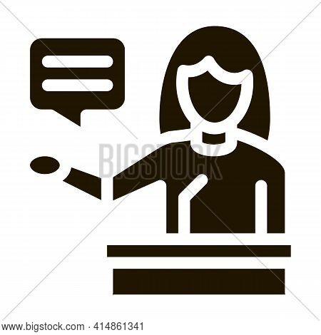 Seminar Woman Teacher Glyph Icon Vector. Seminar Woman Teacher Sign. Isolated Symbol Illustration