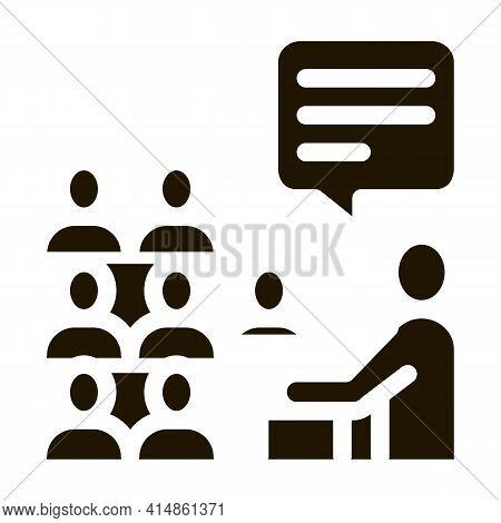 Speaker Talk From Tribune Glyph Icon Vector. Speaker Talk From Tribune Sign. Isolated Symbol Illustr