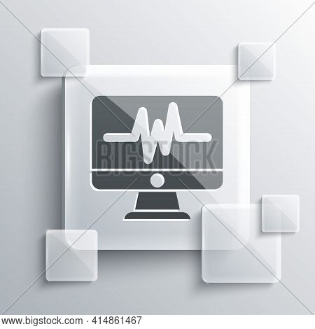 Grey Computer Monitor With Cardiogram Icon Isolated On Grey Background. Monitoring Icon. Ecg Monitor
