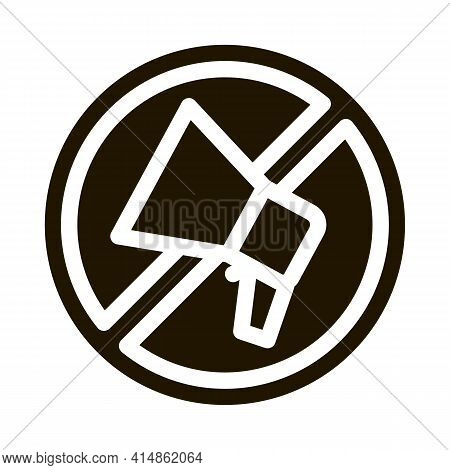 Loudspeaker Crossed Out Sign Glyph Icon Vector. Loudspeaker Crossed Out Sign Sign. Isolated Symbol I