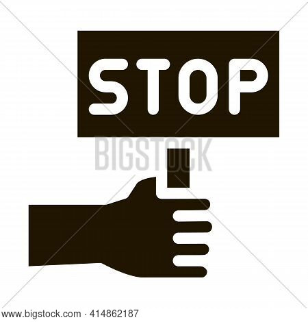 Stop Racism Nameplate Glyph Icon Vector. Stop Racism Nameplate Sign. Isolated Symbol Illustration
