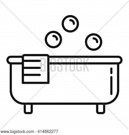 Hot Bath Tub Icon. Outline Hot Bath Tub Vector Icon For Web Design Isolated On White Background