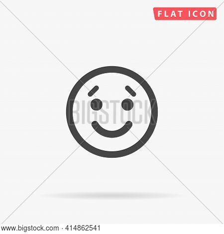 Smile Face Flat Vector Icon. Hand Drawn Style Design Illustrations.