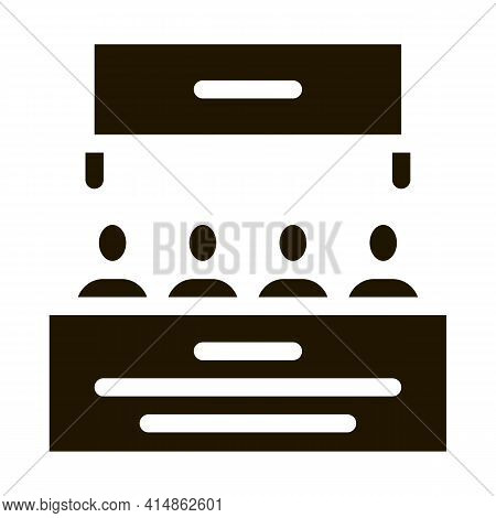 Multiracial People Meeting Glyph Icon Vector. Multiracial People Meeting Sign. Isolated Symbol Illus